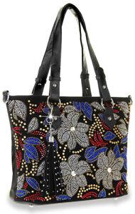 Colorful Floral Bling Rhinestone Totebag Purse Handbag Shopper Shoulder Bag