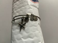 Alex & Ani Silver Tone Charm Bangle Bracelet Starfish Heart Charms Energy