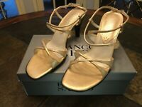 Franco Sarto Gold High Heels Sling Backs Strappy Sandals Size 8.5 New In Box