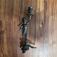"""Vintage  Cherub Brass / Bronze Metal Candle Holder 9"""" tall"""