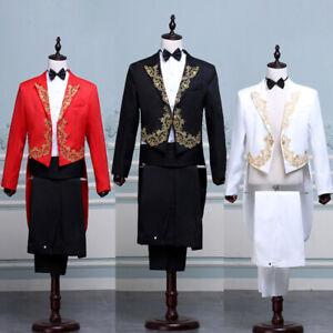 Men Embroidered Peak Lapel Tuxedo Tailcoat Suit Jacket Pants Prom Wedding Blazer
