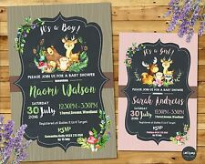 WOODLAND BABY SHOWER INVITATIONS FOREST ANIMALS CUSTOM INVITES BOY GIRL FLORAL