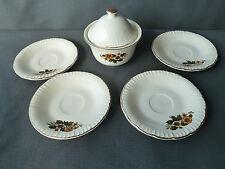 Ancien sucrier et 4 soucoupes en céramique de Digoin art populaire old french