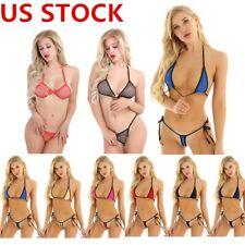 US Women See Through Floral Lace Micro Bikini Bra Mesh Swimsuit Swimwear Outfit