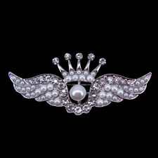 Lovely Angle Wing Crown Use Czech Crystal 18K White Gold-Plated Brooch Pin 6.5cm