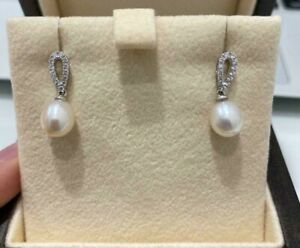 18ct White Gold Diamond and Pearl Drop Earrings