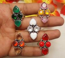 """5PCS RING OPAL, CORAL, GARNET, CITRINE MIX GEMSTONE SILVER PLATED SZ 6 TO 9.5"""""""