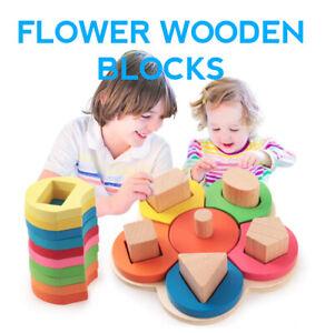 Wooden Montessori Children Toy Flower Shape Sorting Blocks