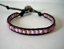 Pink Turquoise Howlite Beaded Leather Wrap Bracelet  Boho Handcrafted
