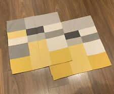2 LARGE PATCHWORK CUSHION COVERS by NEXT * 60cm x 60cm * GREY WHITE YELLOW