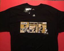 MATT GARZA #22 MILWAUKEE BREWERS Black Majestic T-Shirt Jersey Men's L Vtg $35