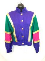 Vintage 80s ST JOHN M Cardigan Sweater Purple Teal Green Pink Gold Color Block M