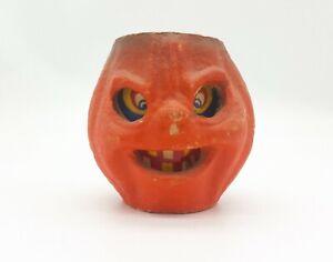 Vintage Halloween Pumpkin Paper Pulp Jack-o-Lantern 1920s - 1950s w/ Insert!