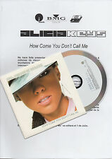 "ALICIA KEYS ""HOW COME YOU DON'T CALL ME"" RARE SPANISH PROMO CD SINGLE+PRESS NOTE"