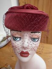 VINTAGE BURGUNDY VELVET SKULL CAP PILL BOX HAT WITH FACE VEIL & FLOWERS - 1990