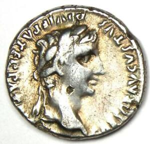 Ancient Roman Augustus AR Denarius Coin 27 BC - 14 AD - Good VF (Very Fine)