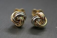 Beautiful 14K Solid Trinity Knot Tri Color Stud Earrings!! (#0719127)