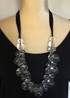 Huge Lucite Plastic Orbs Of Light Necklace Connected W Black Ribbon Statement