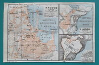 "1934 MAP 4 x 6"" (10 x 15 cm) - GREECE City Plan Rhodos & Lindos Rhodes Island"