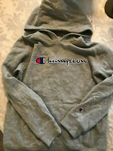 Champion hoodie youth large grey/gray
