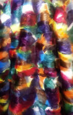 Peacock, Purple, Fuchsia, Yellow, White, Teal, Blue Mottled Faux Fur Upholstery