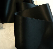 "4"" WIDE SWISS DOUBLE FACE SATIN RIBBON- BLACK"