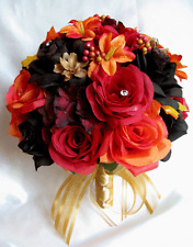 Wedding Bouquet 17 piece Bridal Silk flowers set bouquets ORANGE LILY GOLD FALL