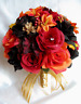 Wedding Bouquet 17 piece Bridal Silk flowers set bouquets ORANGE LILY GOLD FALL