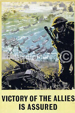 Vintage WW2 British Military Poster Victory Is Assured 18x24