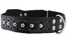 "Braided Studs Genuine Leather Dog Collar 19""-24"" neck 1.5"" wide German Shepherd"