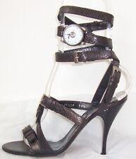 ALEXANDER MCQUEEN Black Bronze Leather Wrap Watch Sandals Shoes 37.5