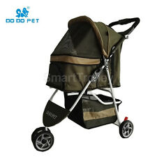 3 Wheels Pet Stroller Cat / Dog Pram Folding Travel Carrier Carriage Olive