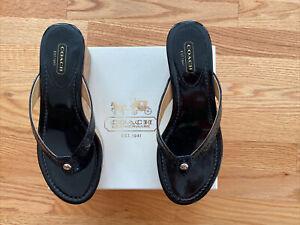 Coach Jorgina Black Patent Sandals w/Box Sz 8