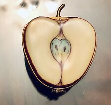 Limoges France Peint Main P.V. Half Apple Porcelain Trinket Box Bee Clasp