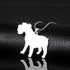 Stainless Steel Standard Miniature Natural Ear Schnauzer Pet Dog Tag Pendant