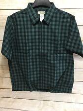 New Men's HABAND SS Shirt Green Plaid Zipper Front Elastic At Waist Size Large
