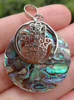 Natural Abalone shell Yoga Hamsa hand Pendant Energy Reiki Healing Amulet