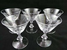Set of Five Etched Clear Glass Stemmed Wine Glasses