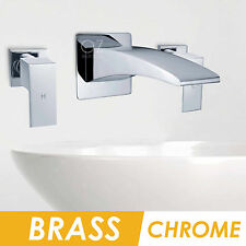 Bathtub Faucet SPA Basin Curved Waterfall Wall Bath Spout Cold Hot Tap Chrome