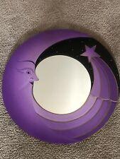 Vintage Moon & Star Hanging Carved Wood Purple Round Mirror Wall Art