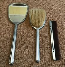 "3 Piece Vintage Chrome & Black Dressing Table Vanity Set Comb Mirror & Brush ""M"""