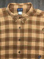 VTG Patagonia Mens Sz L Short Sleeve Button Down Shirt Brown Plaid Organic EUC!