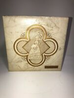 Vintage Hankie Box w/ Decorated Lid Pearl White Vinyl Victorian Style  See Pics!