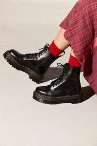 Doc Martens Jadon Platform Boots Smooth Black Leather Womens Size 11 43 New
