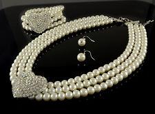 3 PIECE WHITE GLASS PEARL & DIAMANTE CRYSTAL HEART NECKLACE EARRINGS & BRACELET