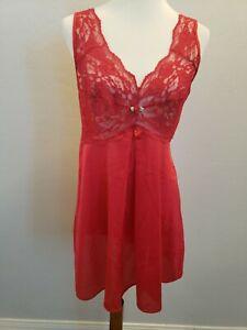 Amoureuse nightgown M Red nylon lingerie Chemise pj Sleepwear lace