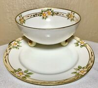 Antique c1920's Nippon Japan Hand Painted 3 Footed Bowl & Underplate Gold Floral