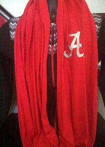 University of Alabama Crimson Infinity Scarf with Silver Glitter Script A