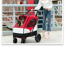 PA Large Dog Stroller Medium Pet Stroller Jogger Folding Dog Carrier Red