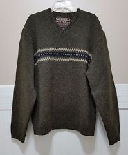 ABERCROMBIE & FITCH Sweater 100% Wool Crewneck Warm Pullover Sz XL Green Striped